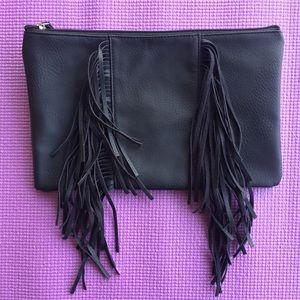 Handbags - NWOT Black Fringe Clutch